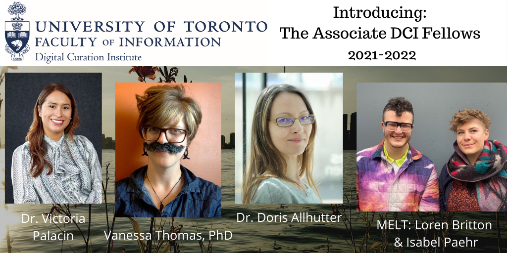 A gallery featuring portraits and names of the Associate Fellows at the DCI: From left to right, Dr. Victoria Palacin; Vanessa Thomas, PhD; Dr. Doris Allhutter; and MELT: Loren Britton & Isabel Paehr
